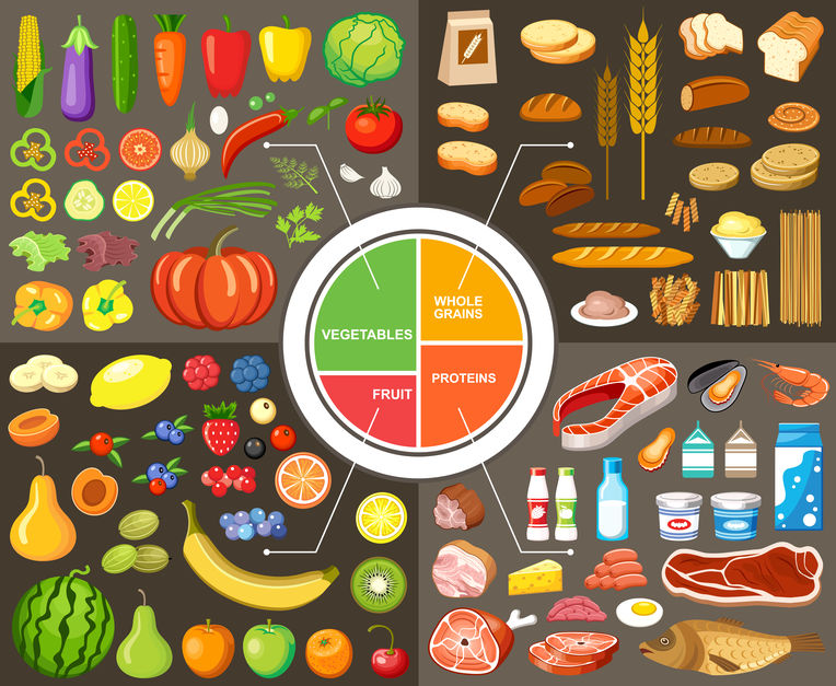 Set of products for healthy food.