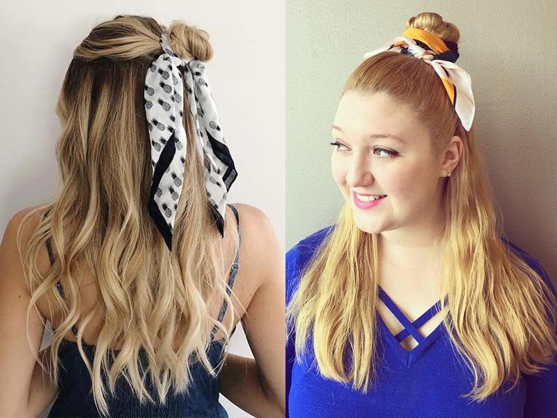 The bun method to wrap hair in scarf