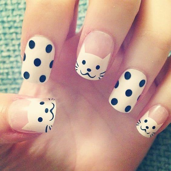 Catty Polka Dot Nail Art Design On Nails