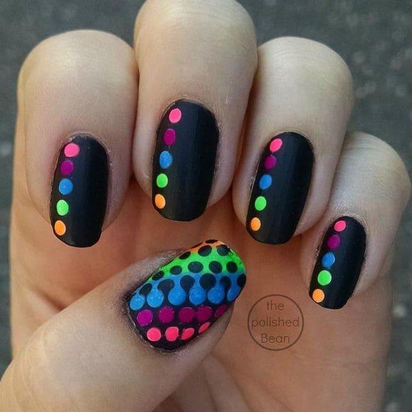 Cute Neon Polka Dot Nail Art 1