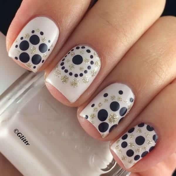 Dark Gray and Gold Glitter Polka Dot Nail Art Designs