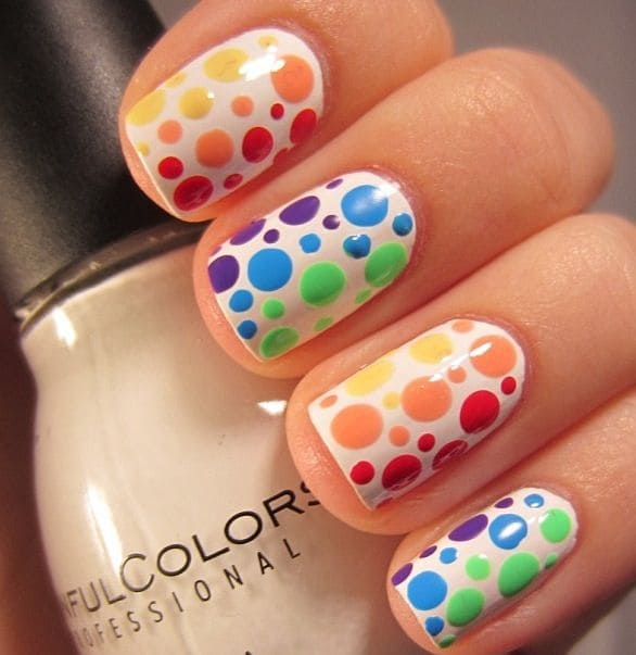 Dashing Neon Rainbow Nails with Dotted Design 4