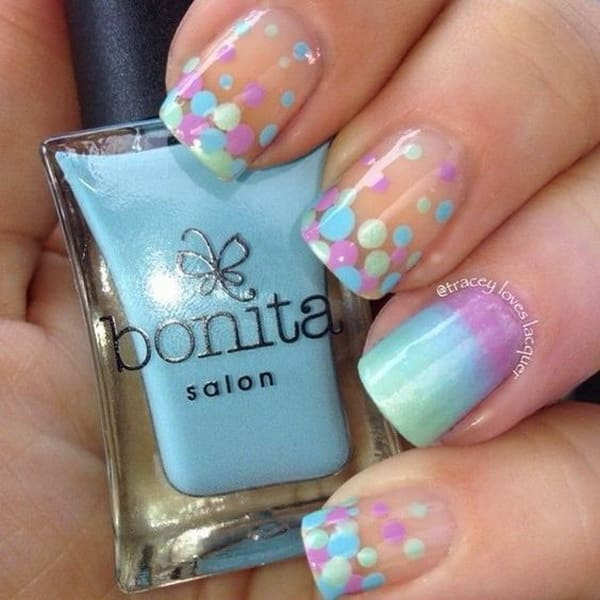 Gradient And Dotted Nail Art Designs 1