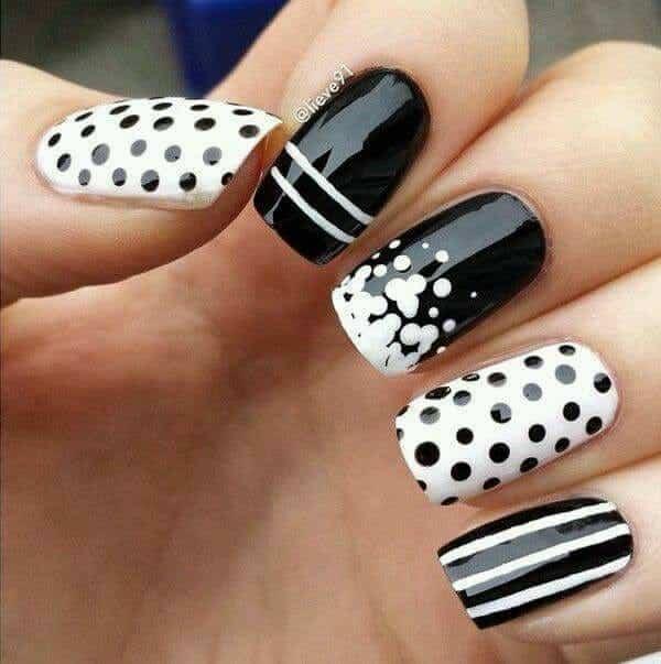 Monochrome Black and White Stripes and Dots Nail Art