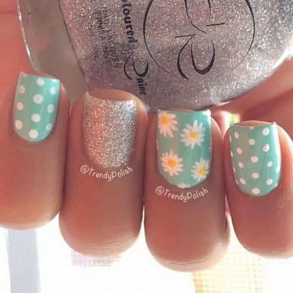 Polka Dots And Daisy Flower Nail Design