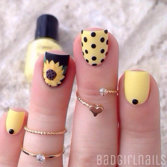 Sunflower Polka Dot Nail Art Design On Nails